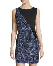 diane von furstenberg dahlia side tie silk dress midnight black