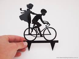 bicycle cake topper classic wedding invitations ride my bicycle cake topper