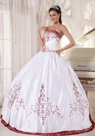 embroidery strapless white and wine red ball gown quinceanera