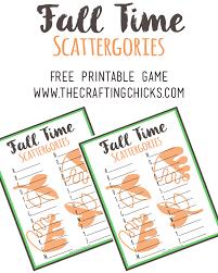 fall scattergories free printable free printable gaming