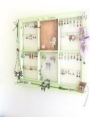 Hanging Wall Organizer Upcycled Window Frame Green Window Jewelry Holder Jewelry