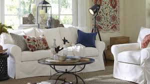 furniture beige ottoma and white pottery barn sleeper sofa with
