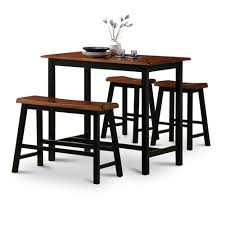 Oak Bar Table 4 Oak Finish Table Saddle Barstools Set