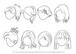 anime hairstyles tutorial learn how to draw anime hair female hair step by step drawing