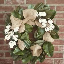 magnolia cotton and burlap wreath magnolia burlap and wreaths