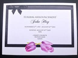 funeral service announcement wording modern funeral invitation card beautiful purple tulips