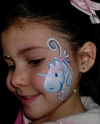 childrens party girl party face paint unicorn cheek art face painting illusions and balloon art