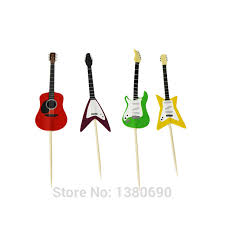guitar cake topper 24pcs figure guitar theme happy birthday flag with paper straw