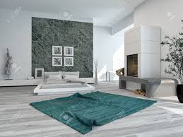 Decor And Floor Stylish Modern Bedroom Interior With A Large Double Bed Grey