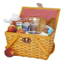 picnic gift basket vintiquewise 12 5 in x 7 5 in x 7 5 in picnic basket gingham