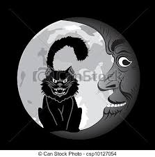 black cat the moon clipart vector search illustration