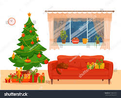 christmas room interior colorful cartoon flat stock vector