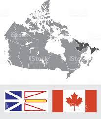 Newfoundland Map Newfoundland Canada Map And Flag Stock Vector Art 165814488 Istock