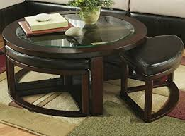 round coffee table with 4 stools amazon com roundhill furniture cylina solid wood glass top round