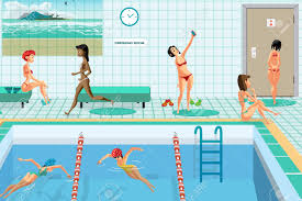 public swimming pool inside with blue water women engaged in