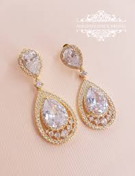 wedding earrings drop bridal drop earrings pear cubic zirconia dangle earrings bridal
