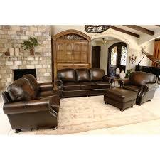 ellis 4 piece top grain leather living room set