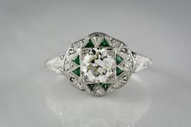 antique edwardian art deco diamond and emerald ring pebble and