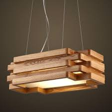 Wooden Pendant Lights Discount Solid Wood Modern Chinese Style Oblong Shape Nordic