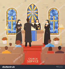 church service communal worship christian traditions stock vector