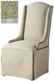 Custom Upholstered Dining Chairs Custom Skirted Dining Chair Shy Chr Nlhead Clarice Dove Custom