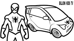 colors small cars w superheroes spiderman coloring pages for kids