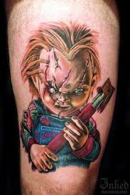 colorful creepy doll chucky tattoo tattooimages biz