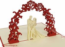 flower arch pop up wedding card bridal pair flower arch pop up