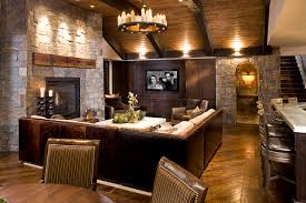 Rustic Family Room Rustic Basement Minneapolis By John - Family room in basement