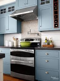 blue kitchen cabinets in cabin 80 cool kitchen cabinet paint color ideas
