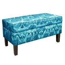 classic large velvet rectangular storage ottoman bench blue