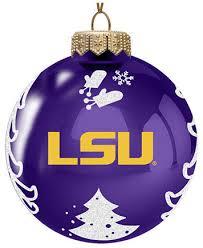 memory company lsu tigers glass christmas tree ornament sports