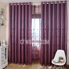Plum Blackout Curtains Embroidery Elegant Decorative Blackout Purple Bedroom Curtains