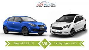 maruti suzuki baleno rs vs ford figo sports u2013 specs comparison