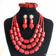beads necklace india images 2018 new red coral india jewelry set for women nigerian wedding jpg
