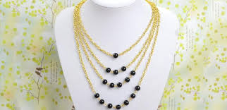 long gold beads necklace images How to make multi strand gold chain necklace with black beads jpg