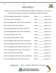 area worksheets