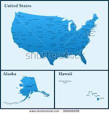 usa map alaska detailed map usa including alaska hawaii stock vector 569666896