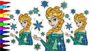 disney frozen coloring book pages sparkly elsa ice queen kids fun