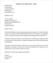 two week notice template word 12 resignation email template