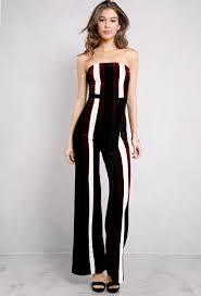 jumpsuit clothing velvet striped self tie strapless jumpsuit shop jumpsuit at