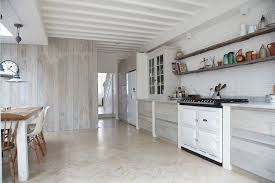 White Beadboard Ceiling by White Painted Wall Kitchen Scandinavian With Wooden Floating