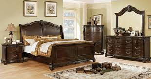 queen sleigh bedroom set furniture of america cm7799ch 5pc 5 pc isidora collection brown