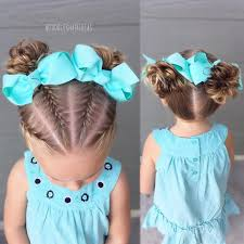 Little Girls Ponytail Hairstyles by French Braids And Messy Buns Toddler Hair Ideas Toddler Hair