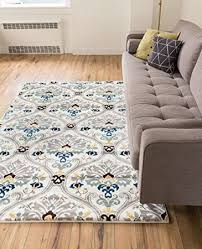 3x5 Area Rug Ogee Waves Lattice Grey Gold Blue Ivory Floral Area