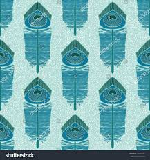seamless pattern turquoise peacock feather hand stock vector