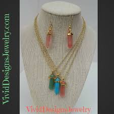 green drop necklace images Crystal quartz statement necklace earring set green turquoise jpg