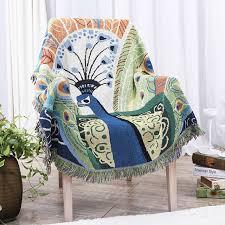 canap asiatique sud est asiatique paon jeter qualité lourde tricoté couverture sur