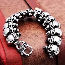 stainless mens bracelet images Punk gothic 316l stainless steel skull bracelet mens jewelry jpg