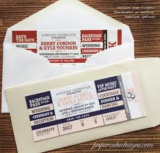 concert ticket with envelope save the date or invitation